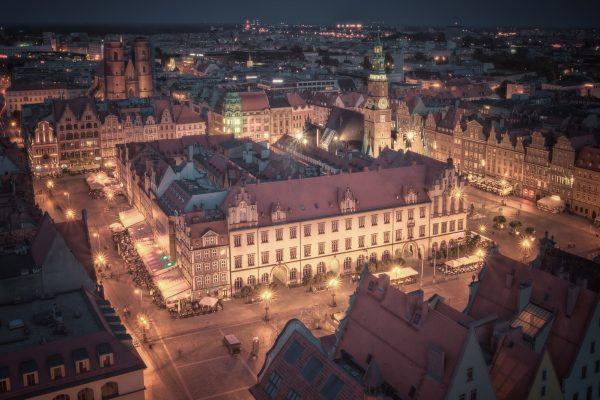 夜のヴロツワフ 旧市街の風景