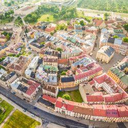 空から見たルブリンの町並み ポーランドの風景