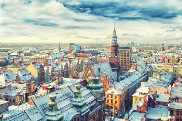 雪のヴロツワフ 冬のヴロツワフの風景